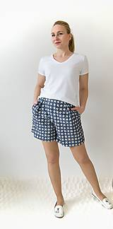 Nohavice - Kraťasy s vysokým pásom a vreckami - 10641620_