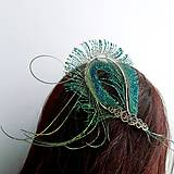 Ozdoby do vlasov - Fascinátor z pávích pierok - 10644016_