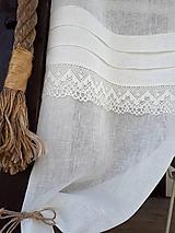 Úžitkový textil - Ľanová záclona Cream Delicacy - 10644359_