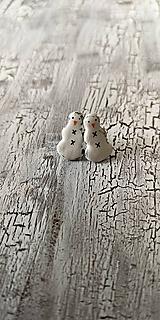 Náušnice - snehuliačik maľovaný - napichovačky - 10641676_