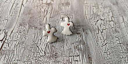 Náušnice - anjelik maľovaný - napichovačky - 10641675_