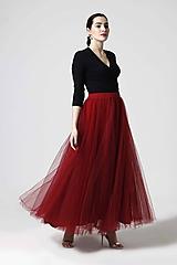 Sukne - Tylová sukňa dlhá bordová - 10645340_