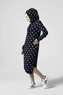 Šaty - Teplákové šaty modré s bodkami - 10645123_