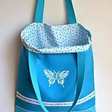 Obojstranná taška - tyrkysová s čipkou