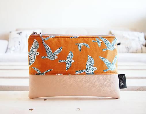Kozmetická taška veľká - vtáčiky s béžovou