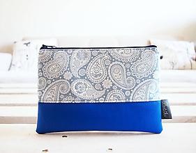 Taštičky - Kozmetická taška veľká - kašmírový vzor v modrej - 10645641_
