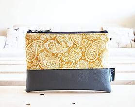 Taštičky - Kozmetická taška veľká - kašmírový vzor v zlatej - 10645645_