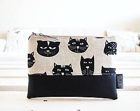 Taštičky - Kozmetická taška veľká - mačky s čiernou - 10645656_