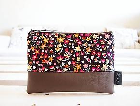 Taštičky - Kozmetická taška veľká - tulipány s hnedou - 10645673_