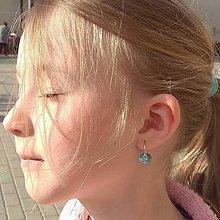 """Detské doplnky - Detské / dievčenské strieborné náušničky Swarovski """"Jarná princezná"""" (Belasý aquamarín) - 10647281_"""