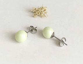 Náušnice - Swarovski perly pastelová zelená - 10646434_
