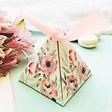 Papier - pyramídová papierová darčeková škatuľka Ruže - 10646166_
