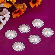 Komponenty - Štrasovo-perlová ozdoba/kabošon 16mm - 10645060_