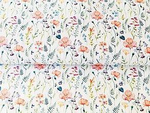 Textil - makové kvety, 100 % sanforizovaná bavlna, šírka 150 cm - 10644833_