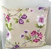 Úžitkový textil - dekoračný vankúš fialové kvety - 10646909_