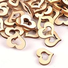 Papier - drevený výrez duté srdiečko - 10646806_