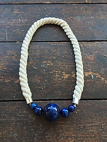 Náhrdelníky - Modré korále na přírodním laně - 10645701_