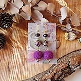 Náušnice - Chutné chlpaté balbuľky - náušnice, ruže, fialová, purpurová, zlatá - 10645265_