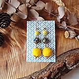 Náušnice - Chutné chlpaté balbuľky - náušnice, ruže, žltá, modrá, čierna, zlatá - 10645293_
