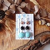 Náušnice - Chutné chlpaté balbuľky - náušnice, hematit a onyx kamienok, čierna, modrá, striebro - 10645389_