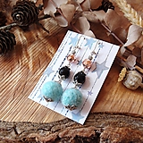 Náušnice - Chutné chlpaté balbuľky - náušnice, hematit a onyx kamienok, čierna, modrá, striebro - 10645390_