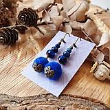 Náušnice - Chutné chlpaté balbuľky - náušnice, sklo, modrá, bronz - 10645652_