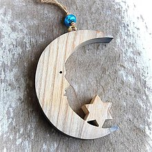Dekorácie - Drevený Mesiac s Hviezdou - 10645587_