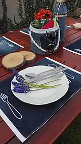 Úžitkový textil - Originál záhradné prestieranie z rifľoviny - 10645113_