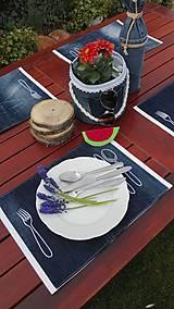 Úžitkový textil - Originál záhradné prestieranie z rifľoviny - 10645117_