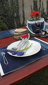 Úžitkový textil - Originál záhradné prestieranie z rifľoviny - 10645131_