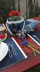 Úžitkový textil - Originál záhradné prestieranie z rifľoviny - 10645135_