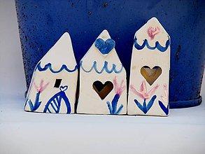 Dekorácie - domček modrý vzor - 10644853_