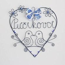 Dekorácie - svadobné srdiečko s perličkami (folk) - 10648994_