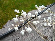 Ozdoby do vlasov - Svadobné vlásenky Bielo-zlaté perličkové 3ks - 10649853_