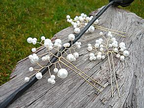 Ozdoby do vlasov - Svadobné vlásenky Bielo-zlaté perličkové 3ks - 10649852_