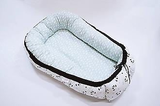 Textil - Hniezdo pre bábätko mentolové s bielymi pandami - 10648162_