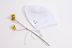 Detské čiapky - Čepček biely z gázoviny - 10649959_