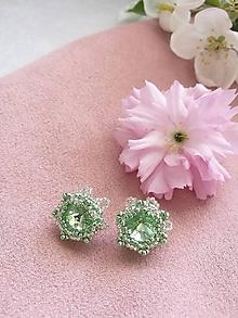 Náušnice - Swarovski zapichovačky Primavera - Ag 925 (Zelená) - 10648751_