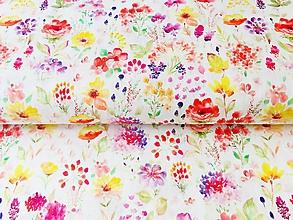 Textil - letná kytica, 100 % bavlna Francúzsko, šírka 140 cm - 10647420_