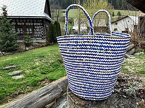 Veľké tašky - Pletený palmový kôš (Blue trip) - 10649184_
