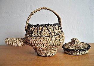Krabičky - Antique Kožený pletený košík (Teapot) - 10649438_