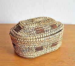 Krabičky - Kožený pletený košík (Elegant Small) - 10649518_