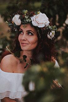 Ozdoby do vlasov - Kvetinový venček ,,ruže, - 10649974_