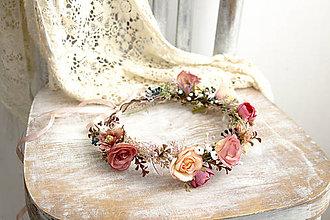 Ozdoby do vlasov - Kvetinový venček ,,staroružový, - 10650228_