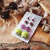 Náušnice - Chutné chlpaté balbuľky - náušnice, sklo, purpurová, bordová, zelená, striebro - 10648237_