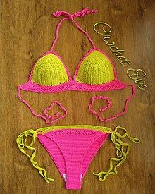 Bielizeň/Plavky - Háčkované plavky Lime and pink - 10649130_