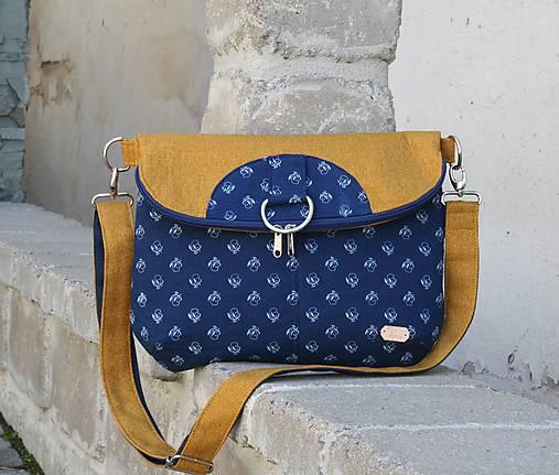 Daria modrotlačová žltá 1 = taška + batoh