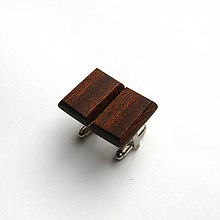 Šperky - Drevené manžetové gombíky - mahagónové obdĺžniky - 10647786_