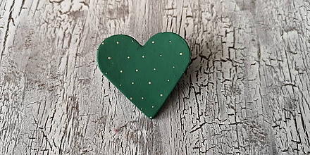 Odznaky/Brošne - bodkovaná brošňa (smaragdovo zelená) - 10647694_