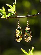 Náušnice - Pavučinkové (zelená + žltá) - 10648837_